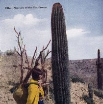 Image of UNRS-P2012-10-007 - Natives of the Southwest. [Native American woman and child by saguaro cacti.]