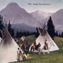 Image of UNRS-P2012-10-023 - Indian Encampment. [Native Americans by teepees with mountain range in background.]