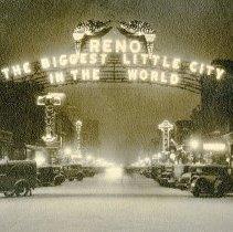 Image of UNRS-P2012-10-026 - Reno Arch at night. Circa 1920 - 1940.