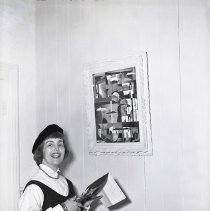 Image of UNRS-P1985-08-03267 - Zoray Kraemer; Peter Kraemer; Tobias (dog); Nancy Bordewich; February 3, 1955; Virginia City (neg. 4x5).