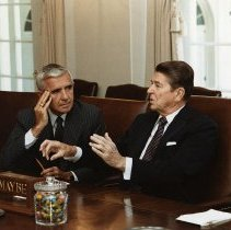 Image of UNRS-P2015-12-00140 - President Reagan and Senator Laxalt at the GOP Leadership meeting: scrapbook 13, page 54, box 931