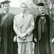 Image of UNRA-P156-25 - Photograph of Charles Mapes, President of the Associated Students of the Univeristy of Nevada for 1941-42; William H. Beamer, President of the Alumni Association; and Dr. Leon Hartman, President of the University of Nevada (May 1941).