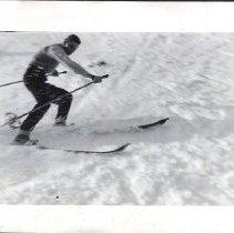 Image of UNRS-P1992-01-1774 - In album, Property of John E. Robinson, Riverside Drive, Reno, Nevada. [skier]