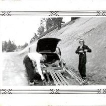 Image of UNRS-P1992-01-1798 - In album, Property of John E. Robinson, Riverside Drive, Reno, Nevada. [skiers]