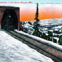 Image of UNRS-P2004-18-129 - Colorized postcard of a train emerging from a snowshed. Caption on image: 136 - Snowsheds in the Sierra Nevada Mts. Ogden Route Southern Pacific Co.