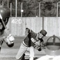 Image of UNRA-P1512-100 - Unidentified baseball player throwing the ball to a battter. Caption: The pitch (Spring 1985)