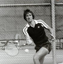 Image of UNRA-P1512-125 - Men's tennis - unidentified player. Caption: What feeling! (1985)