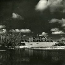 Image of UNRA-P1521-1 - Photograph of Lincoln Hall, with Manzanita Lake in the foreground (1944)