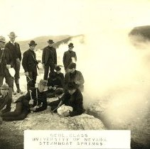 Image of UNRA-P3053-01 - Photograph of unidentified geology class students at Steamboat Springs, a small volcanic field south of Reno