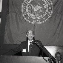 Image of UNRA-P3359-312-00004 - Photograph of University President Joseph Crowley at the podium during the dedication of the Church Fine Arts Complex.
