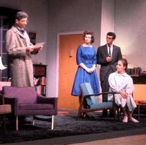 """Image of UNRA-P3475-0189 - Photograph of unidentified actor, Dale Gordon, Nancy Bowen, Jerry Small, and Kathi Blake during a performance of """"The Male Animal,"""" in the J. E. Church Fine Arts theater, May 1961."""