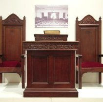 Image of Pulpit and chairs from West Swamp Mennonite Church, 1934