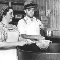 Image of Rittenhouse's making scrapple, Blooming Glen,  1940