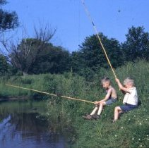 Image of Timothy and Leonard Histand fishing, ca. 1950