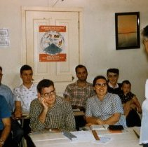 Image of Margaret Derstine and others in language class, Puerto Rico, 1956