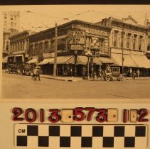 Image of 2013.573.1.2 - Snapshot of North West corner of 1st and Main St., Los Angeles, 15 August 1926