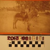 Image of 2013.681.1.1 - A cabinet photograph of Harry Blatenburg on a mule, Pasadena