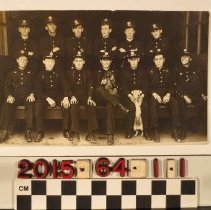 Image of 2015.64.1.1 - A real photo postcard, Los Angeles Fire Department, firemen in uniform with dogs