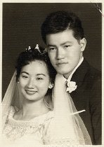 Image of Wedding photo of Mary Lampel's adult students, 1950-1969