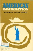 Image of 304.073-J - Immigration, writes Maldwyn Allen Jones, was America's historic rai·son d'être. Reminding us that the history of immigration to the United States is also the history of emigration from somewhere else, the author considers the forces that uprooted Europeans from their homes and analyzeds the actual process of immigration---an experience essentially the same for Jamestown settlers and for Hungarian refugees. He points to the various national crises which tested the immigrant's adjustment to life in America and shows us how the immigrant has played a particularly vital role in sectional conflicts, the westward movement, labor organization, foreign policy, and the theory and practice of democracy.