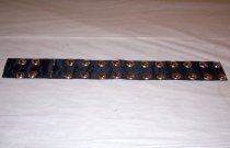 Image of Black silk belt with gold button trim