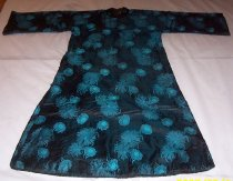 Image of Black silk & cotton padded robe