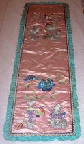 Image of Pink silk banner with birds
