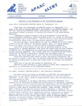 Image of September 1986 Special edition 4 pp.  Table of Contents: Profiles of the Presidents of the Six APAC/USA Regions -Laura Chin, Co-President APAC/USA Region VI, Washington, D.C. -Raj Desai, President APAC/USA Region V, San Francisco, California -Jerry Enomoto, President APAC/USA Region IV, Sacramento, California -Eugene Wong, President APAC/USA Region III, Fresno/Central Valley, California -Richard Katsuda, President APAC/USA Region II, Los Angeles, California -Remigio (Ray) Aragon, President APAC/USA Region I, San Diego, California