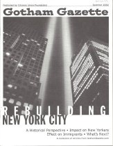 """Image of Printed collection of articles from GothamGazette.com on the September 11 terrorist attacks, including one entitled """"Chinatown Continues to Struggle"""" (p. 8)."""