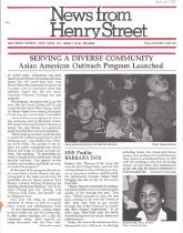 Image of Fall/Winter 1987-1988 8 pp.  Newsletter reports on the launch of Henry Street Settlment's Asian American Outreach Program