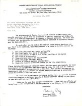 Image of Letter from the OCA - Southern Alameda County Chapter to the Chinatown History Project seeking nominations for the Chinese American Historical Biographical Project. The OCA seeks to produce a historical biographical dictionary of Chinese Americans with funding from the Department of Health, education and Welfare.