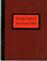 Image of A year book created by members of the Basement Workshop on Catherine Street in New York City.  This journal was meant to commemerate the end of the organization.