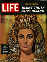Image of Cover features Elizabeth Taylor as Cleopatra, for the movie of the same name. The headdress that she wears was made by Wah Ming Chang.
