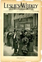 """Image of Leslie's Weekly, Volume 82, Number 2104, January 9, 1896 includes a double-spread page of a series of photos of """"The Chinese Colony in New York"""" which are captioned: """"A First-Class Restaurant on Mott Street,"""" """"A Popular Mott Street Restaurant,"""" 'Exterior of a Chinese Residence on Pell Street,"""" """"Chinese Wood-Picker,"""" 'Examining the Lottery Posters,"""" 'Balcony of a Chinese Store on Pell Street,"""" """"Scene in Chinese Quarters,"""" """"Chinese Laundrymen."""" There is an accompanying article titled """"Chinese Restaurants in New York."""" by Allen S. Williams."""