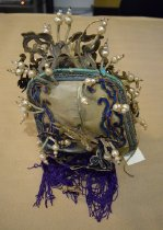 Image of Blue and turquoise scholar's hat, back