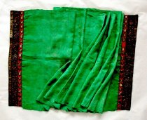Image of Green scarf with embroidered ends