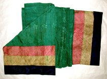 Image of Green scarf with multicolored ends