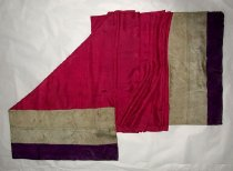 Image of Fuschia scarf with multicolored ends