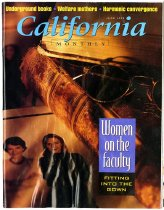 """Image of California Monthly June 1995 Vol. 105 No. 6.   The article inside that features Maggie Gee is titled """"Coming in on a Wing and a Bear."""""""