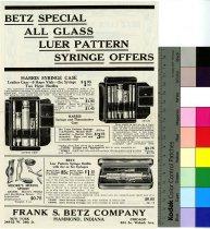 Image of Betz Special All Glass Luer Pattern Syringe Trade Handbill 1932