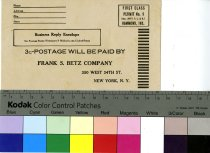 Image of Frank S. Betz Company Business Reply Envelope 1932