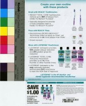 Image of Reach toothbrush, floss and Listerine brochure