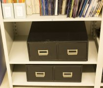 Image of Registrar's office student register cards filing cabinet 3