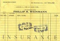 Image of Weinman Insurance Receipt - 2012.011.0186