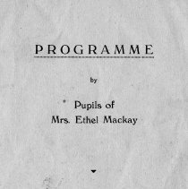 Image of Programme by Pupils of Mrs Ethel Mackay,1934.