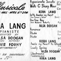 Image of Kora Lang Musicale, April 6th.