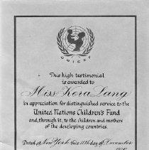 Image of Kora Lang testimonial re United Nations Childeren's Fund, 1976.