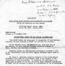 Image of Kora Lang's Unicef Honour for Volunteer Work, 1976.