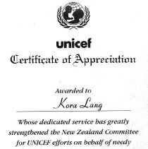 Image of Kora Lang's Unicef Certificate of Appreciation, 1997.
