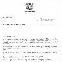 Image of Kora Lang's letter re Queen's Service Medal, 1989.